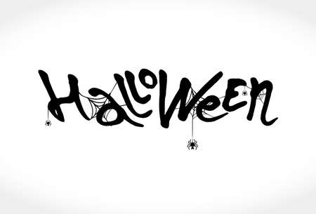 Hand sketched calligraphy typeface for   Halloween. Modern brush calligraphy with spider web. Halloween party invitation. Template as scary banner, design, print, typography poster.