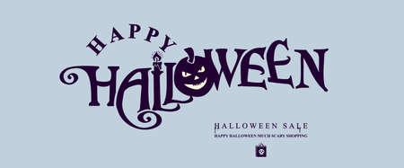 Halloween horizontal banner with HAPPY HALLOWEEN inscription with pumpkin head.