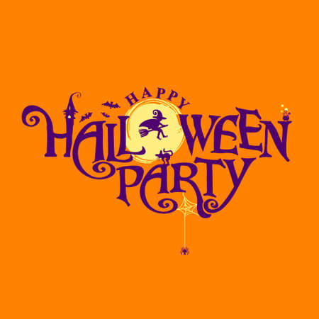 Happy Halloween Party with and a pretty witch on a background of the full moon. Halloween lettering composition for banner, poster, greeting card, party invitation. Illusztráció