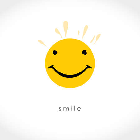 Sunny smiley. Smile Freehand drawn face smile on a yellow circle. Vector icon.