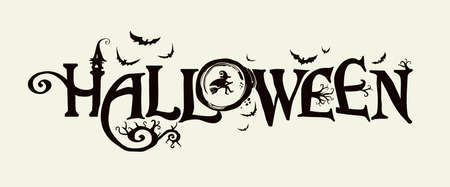 Halloween horizontal banner . The inscription with ominous tree branches, bats and a pretty witch on a background of the full moon. Illusztráció