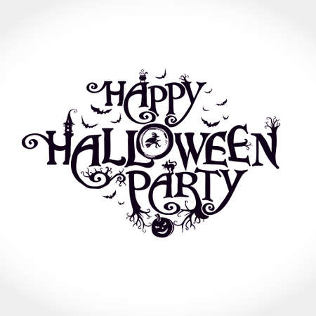 Happy Halloween Party cute scary design with a witch, ominous trees, a black cat and other Halloween characters. Halloween vector lettering composition for banner, poster, greeting card, party invitation. Stock Illustratie