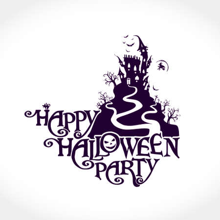 Happy Halloween Party with a ghost house. Happy halloween party invitation Illusztráció