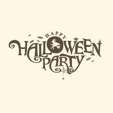 Happy Halloween Party   with and a pretty Witch flies on a broomstick. Halloween lettering composition for banner, poster, greeting card, party invitation.