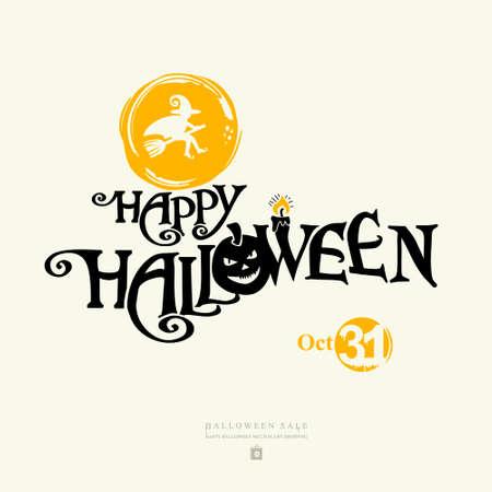 Halloween banner with  HAPPY HALLOWEEN inscription with pumpkin head. Illusztráció