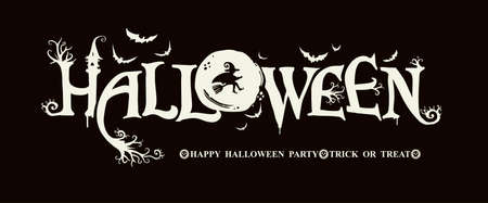 Halloween horizontal banner on a black background. HAPPY HALLOWEEN, Trick or Treat. The inscription with ominous tree branches, bats and a pretty witch on a background of the full moon. Illusztráció