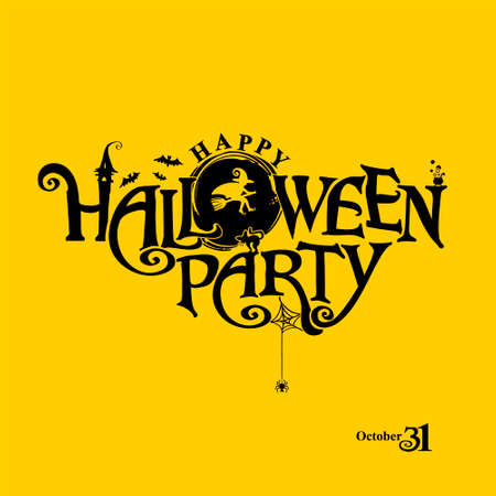 Happy Halloween Party with pretty Witch flies on a broomstick. Halloween lettering composition for banner, poster, greeting card, party invitation.