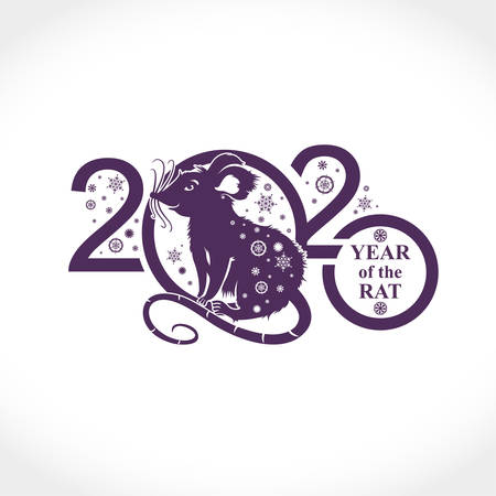 New Year card with the symbol of 2020 Rat. Silhouette of figures and snowflakes. Vector element for New Years design.