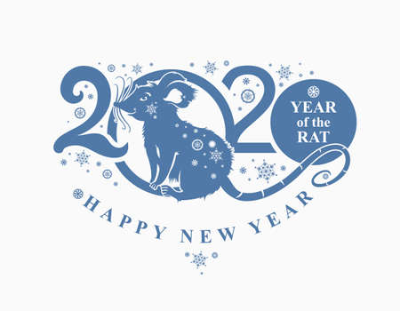 Beautiful New Year card with the symbol of 2020 Rat. Blue pattern 2020. Silhouette of figures and snowflakes. Vector element for New Years design. Illusztráció