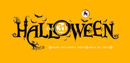 Halloween horizontal banner with festive  HAPPY HALLOWEEN, Trick or Treat.