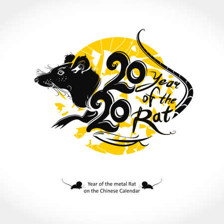 Stylish illustration for the year of the Rat 2020. Handwritten  template Rat 2020 on a background of yellow round stamp. New Year on the Chinese calendar. Çizim