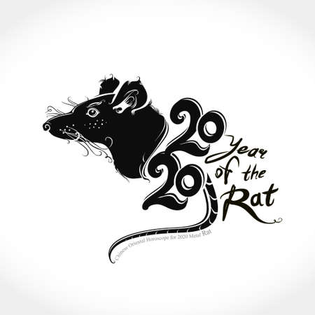 Chinese eastern horoscope for 2020 Metal Rat. Stylish illustration for the year of the Rat.