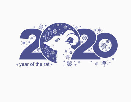 Year of the Rat 2020. Cute cartoon White Rat. Vector template New Years design on the Chinese calendar.