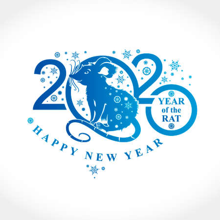 Beautiful New Year card with the symbol of 2020 Rat. Blue pattern for 2020 White Metal Rat. Silhouette of figures and snowflakes. Vector element for New Years design.