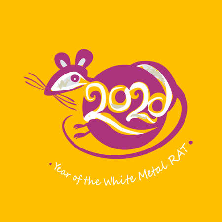 Round symbol Rat 2020. Vector stamp of the year of the Chinese horoscope 2020 White Metal Rat. Vector pattern for Chinese New Year design.