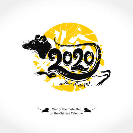 Stylish template for the year of the Rat 2020. Handwritten logo Rat 2020 on a background of yellow round stamp. New Year on the Chinese calendar. Çizim