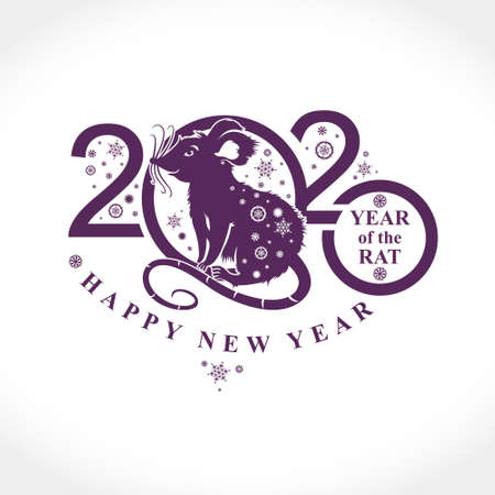 Beautiful New Year card with the symbol of 2020 Rat. Chinese Oriental Horoscope for 2020 Metal Rat. Silhouette of figures and snowflakes. Vector element for New Years design. Illusztráció