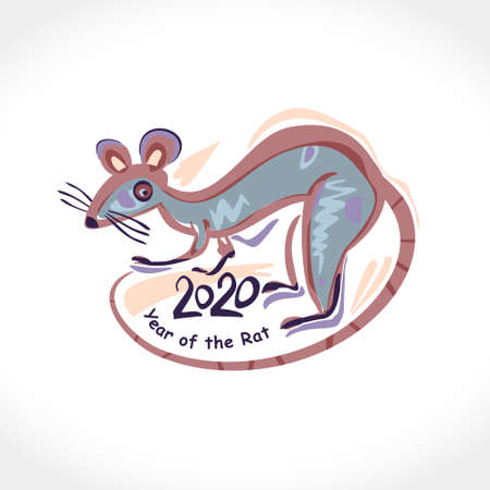 Painted rat. Year of the Rat 2020. Chinese Oriental Horoscope for 2020 White Metal Rat. Vector symbol for Chinese New Year design.