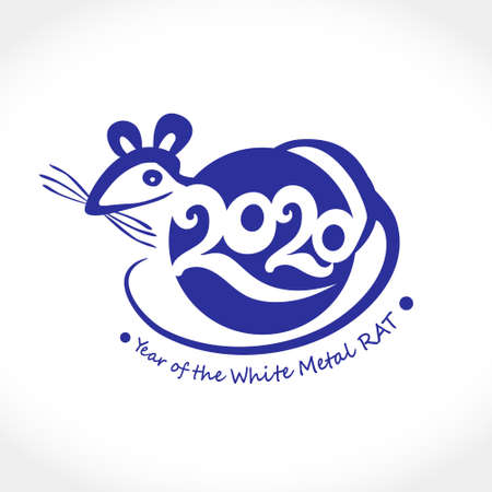 Round vector symbol Rat 2020. Vector stamp of the year of the Chinese horoscope 2020 White Metal Rat. Chinese New Year design.