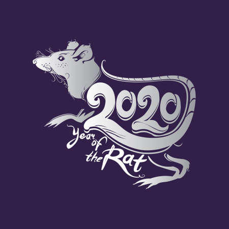White Metal Rat 2020. Year of the Rat. Vector symbol for Chinese New Year design.