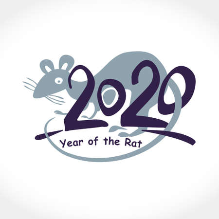 Year card of the Rat 2020. Chinese Oriental Horoscope for 2020 White Metal Rat. Vector element for Chinese New Year design.