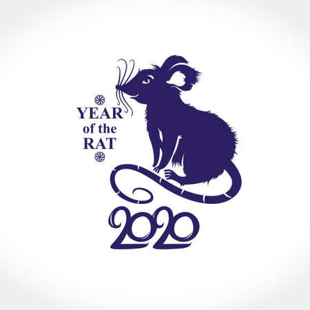 Year of the Rat 2020. Cute cartoon Rat. Vector template New Years design on the Chinese calendar.