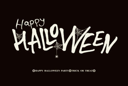 banner Happy Halloween. Modern brush calligraphy Illustration