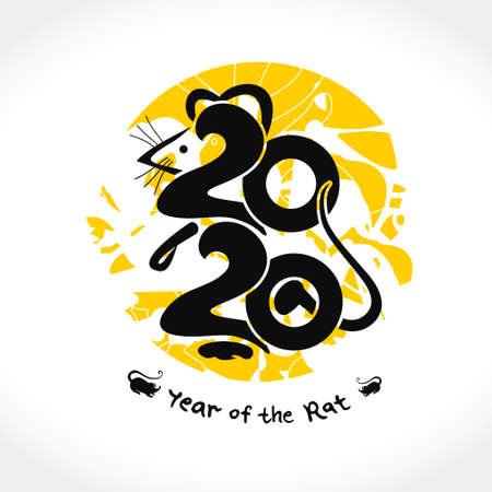 Rat 2020. Handwritten   Rat 2020 on a background of yellow round stamp. New Year on the Chinese calendar. Ilustração