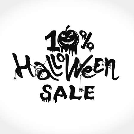 Hand drawn vector banner Halloween Sale. 10 percent discount on purchases. Modern brush calligraphy with spider web. Letters of molten wax. Template as scary banner, design, print, typography poster.