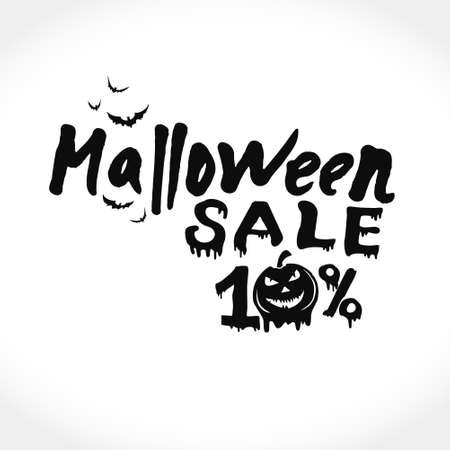 Hand drawn vector banner Halloween Sale. 10 percent discount on purchases. Modern brush calligraphy. Letters of molten wax. Template as scary banner, design, print, typography poster.