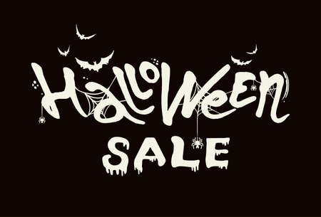 Hand drawn vector banner Halloween Sale. Modern brush calligraphy with spider web. Letters of molten wax on a black background. Template as scary banner, design, print, typography poster. Illustration