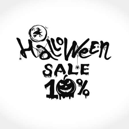 Hand drawn vector banner Halloween Sale. 10 percent discount on purchases. Modern brush calligraphy with spider web and the witch broom fly. Letters of molten wax. Template as scary banner, design, print, typography poster.