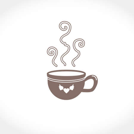 Flat vector illustration of a cup with a hot drink. An invigorating and warming coffee or tea. On the cup is a heart with wings.