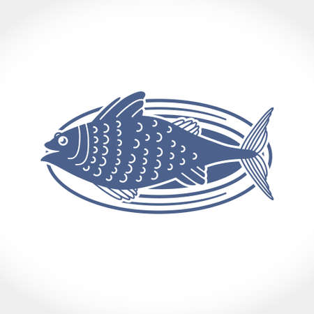 Flat vector illustration of a fish on a dish. Fresh tasty fish silhouette template for design design of chicken and more. Perhaps for plotter cutting in a large size.
