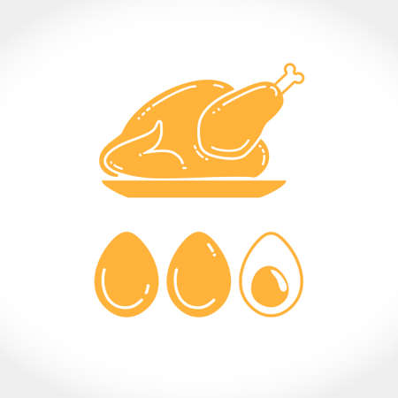 Flat vector illustration of chicken carcass meat and eggs. Farm chicken silhouette template for design design of chicken and more. Perhaps for plotter cutting in a large size. Иллюстрация