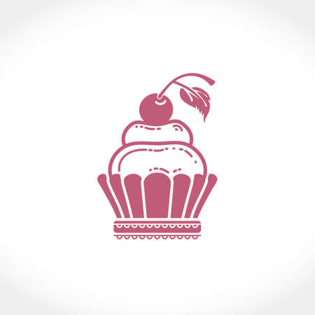 Flat vector illustration of a cream cake with a cherry. Berry or fruit cream in a basket of shortcrust pastry.