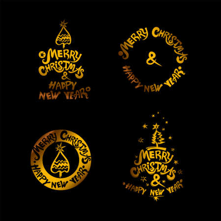 Merry Christmas & Happy New Year! Gold holiday labels on a black background a set of four templates. Christmas tree and stars. Set of four vector templates for the New Year design.