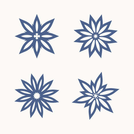 Set of four simple star templates. The shape typed from the laconic rays of the petals is possible plotter cutting.