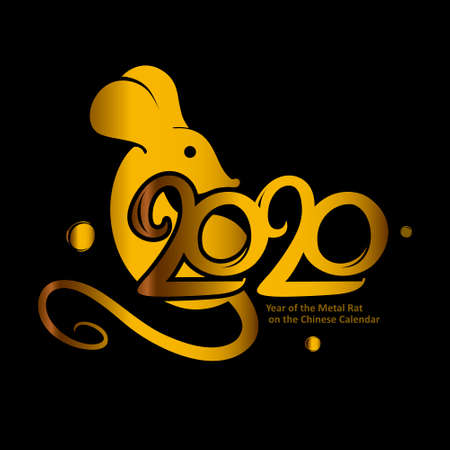 Year of the Metal Golden Rat on the Chinese Calendar. 2020  design on a black background. Vector template metal stamp with the inscription 2020 and Rat.
