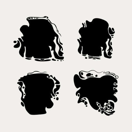 Blots. Vector graphic template imitation of oil puddles. Set of four spots of black puddles.