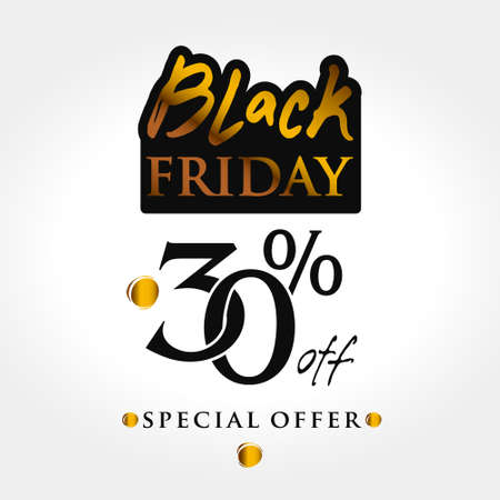 Black Friday template. Vector label 30 percent discount. The combination of black and gold graphics for banner, sale, flyer, card, sign poster, badge.