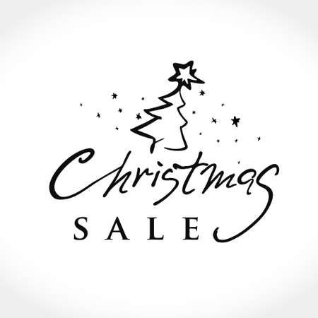 Christmas SALE Vector Text Background. The black felt tip pen draws a lettering template with a Christmas tree for holiday sales. Golden text on black background. 矢量图像