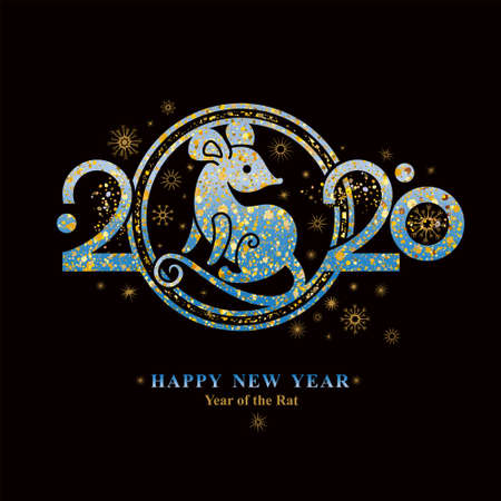 Year of the Rat 2020 in the Chinese calendar. Shining metal rat symbol on a black background and lettering. Beautiful New Year illustration with symbol 2020 metal Rat.