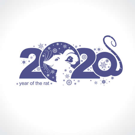 Beautiful New Year card with the symbol of 2020 Rat. Charming white mouse and snowflakes. Vector element for New Years design.