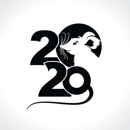Black template 2020 with a cute cartoon rat. Chinese New Year of the Rat. Happy New Year. Rat 2020. New Year on the Chinese calendar.