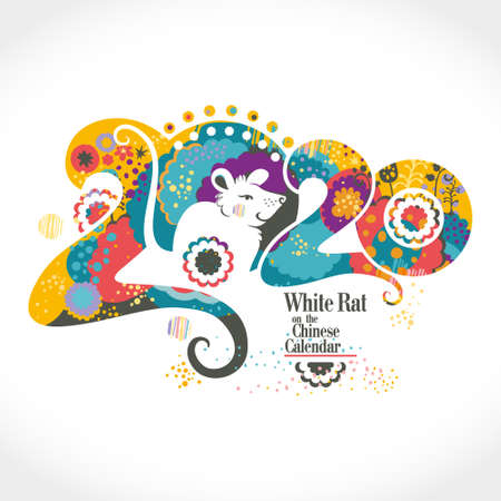 Chinese New Year 2020. Beautiful illustration of the white Rat on a floral background 2020 of stylized vibrant nature. Flat vector graphic.