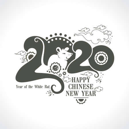 Stylish template 2020 with a cute cartoon white rat. Chinese New Year of the Rat. Wise Rat 2020. New Year on the Chinese calendar.