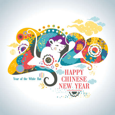 Happy Chinese New Year 2020. Beautiful illustration of the white Rat on a bright floral patterns and clouds background 2020 of stylized vibrant nature. Flat vector graphic.