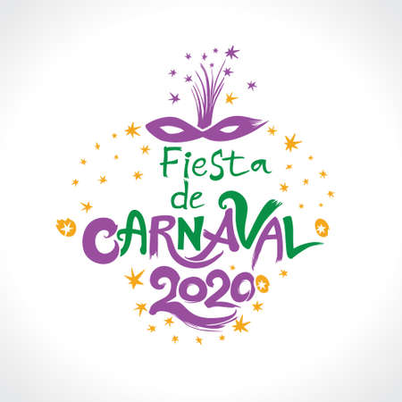 Fiesta de Carnaval 2020 in spanish. Translated as Carnaval party. Hand drawn vector template with Masquerade Mask isolated on white.