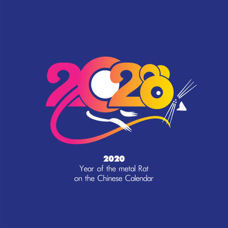 Year of the Rat 2020 on the Chinese Calendar. Card with animal symbol of the year rat 2020. New Year template. Vector Illustration.